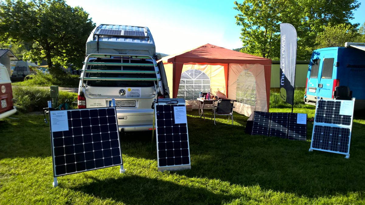 Solar systems and solar folders for campers, VW T5 / T6, vans and tents